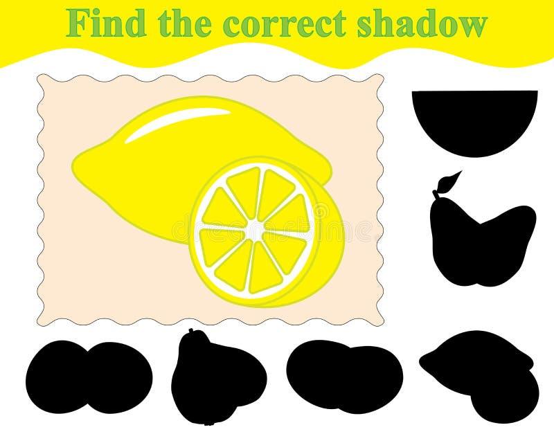 Gra dla dzieci Znajduje poprawnego cień cytryny ilustracji