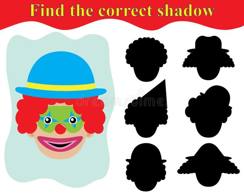 gra dla Preschool dzieci Znajduje cień błazen ilustracja wektor