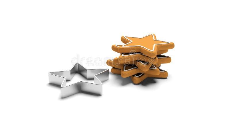 Gra główna rolę kształtnych piernikowych ciastka i krajacza, odizolowywający, biały tło, royalty ilustracja