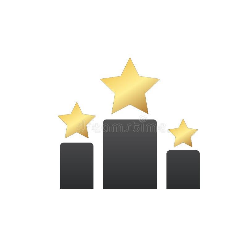 gra główna rolę nagrodę, gra główna rolę na różnej wielkościowej podium ikonie, Z?oto, srebro i br?z pierwszy miejsca drugi trzec ilustracji