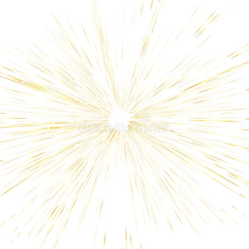 Gra główna rolę wybuch, złocistych lekkich promienie ab i kropka rozpraszającą błyskotliwości teksturę, ilustracja wektor