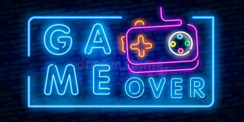Gra Nad Neonowym teksta wektorem Gra Nad neonowym znakiem, hazardu projekta szablon, nowożytny trendu projekt, nocy neonowy signb ilustracja wektor