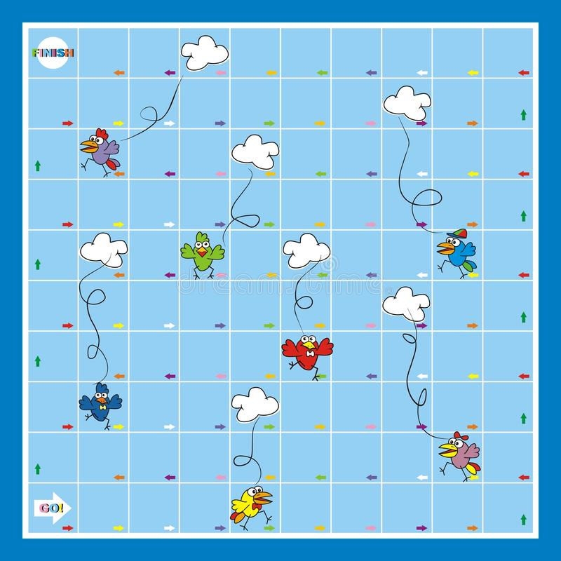 Gra planszowa, śmieszni ptaki i chmury, wektorowa ikona ilustracji