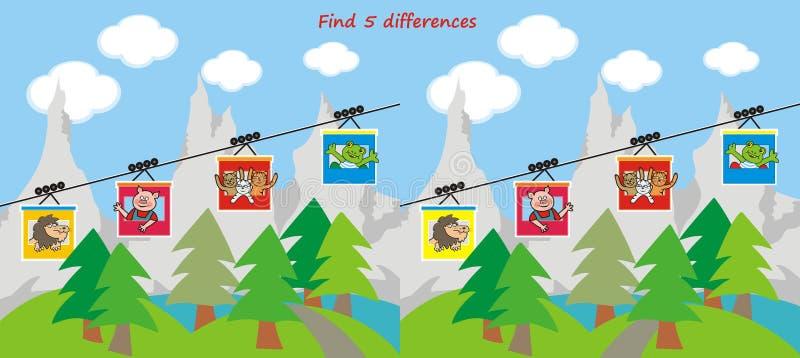 Gra planszowa dla dzieci, znajduje pięć różnic, zwierzęta bierze wagon kolei linowej góry ilustracja wektor