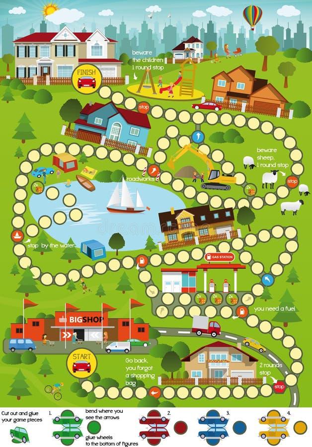 Gra planszowa (kreskówki miasto) royalty ilustracja