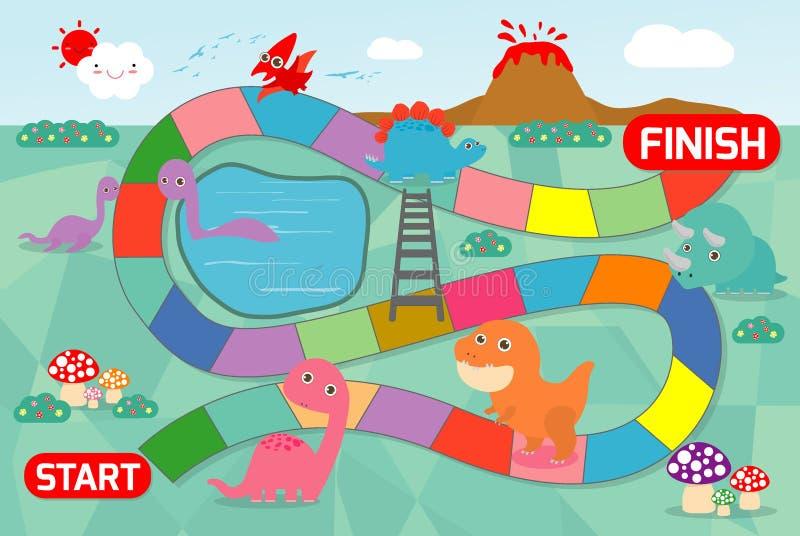 Gra planszowa z dinosaurami, ilustracja gra planszowa z dinosaura tłem gra dzieciaki ilustracja wektor