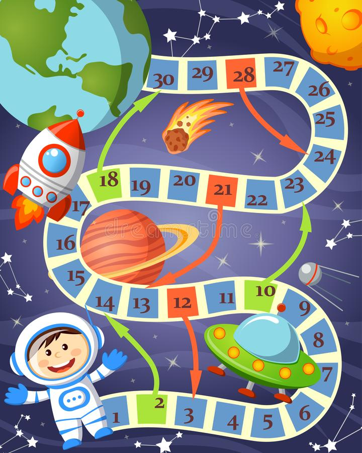 Gra planszowa z kosmonauta, ufo, rakietą, planetą i gwiazdami, zdjęcie stock