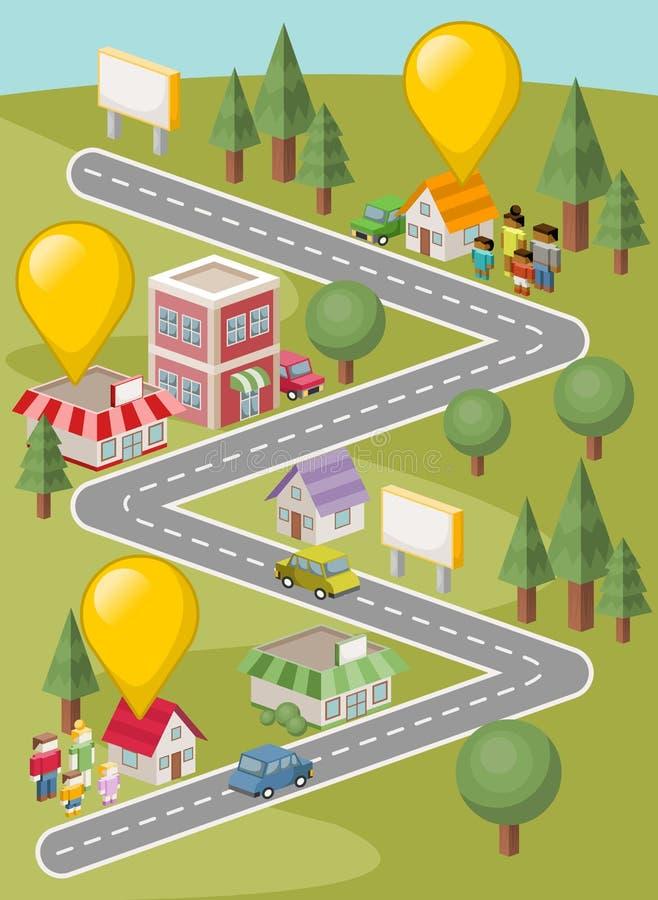 Gra planszowa z ludźmi na mieście royalty ilustracja
