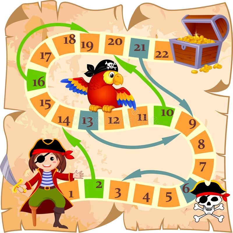 Gra planszowa z piratem, papugą, byczym Roger i skarb klatką piersiową, royalty ilustracja