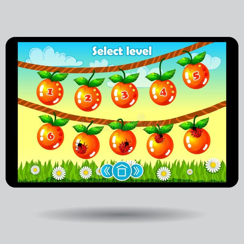 Gra równego wyboru ui owocowy ekran ilustracji