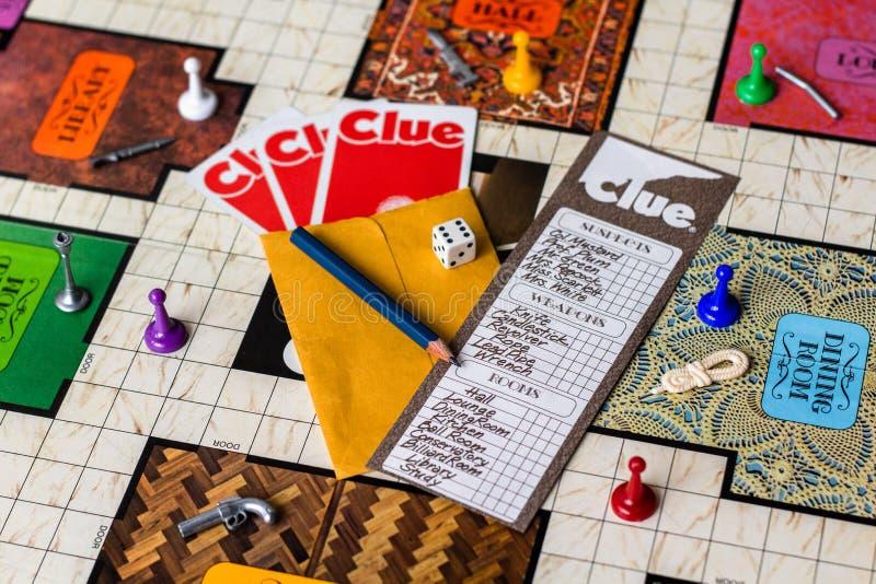 Gra w Clue board 1972 Second Edition zdjęcie stock