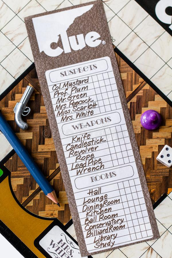 Gra w Clue board 1972 Second Edition obraz royalty free