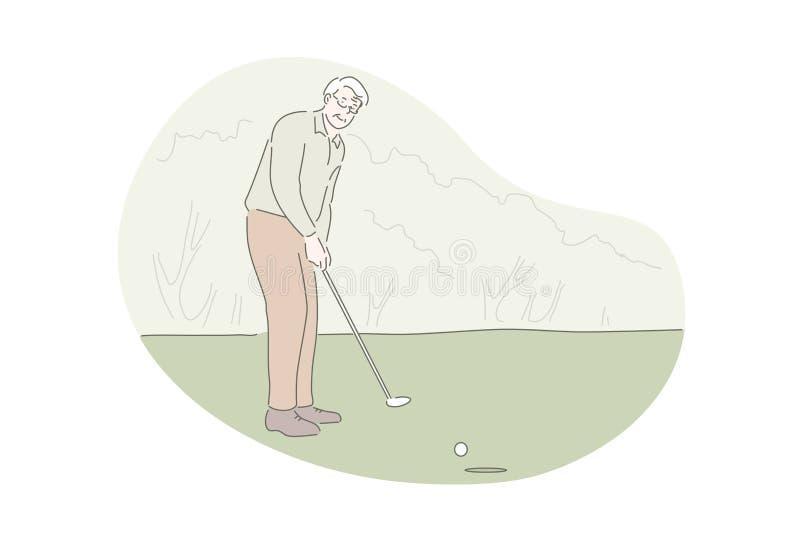 Gra w golfa, aktywny wypoczynek, koncepcja aktywności na zewnątrz royalty ilustracja