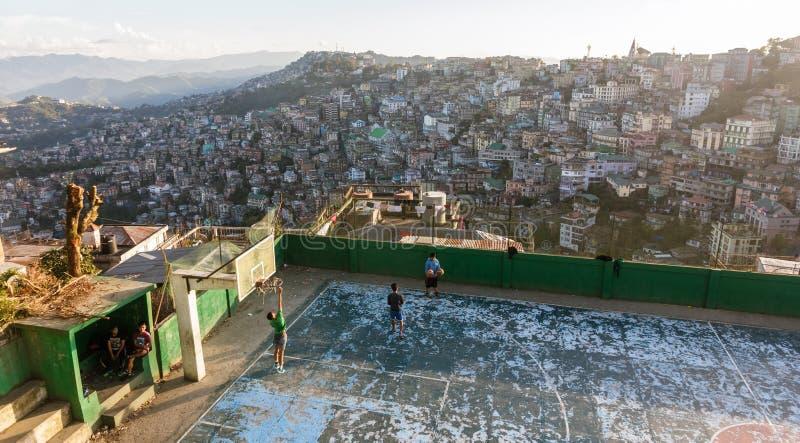Gra w koszykówkę w Aizawl zdjęcie stock