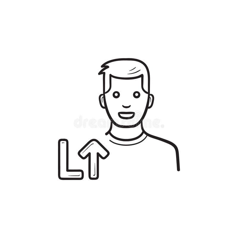 Gra wideo gracz równy w górę ręka rysującej konturu doodle ikony royalty ilustracja