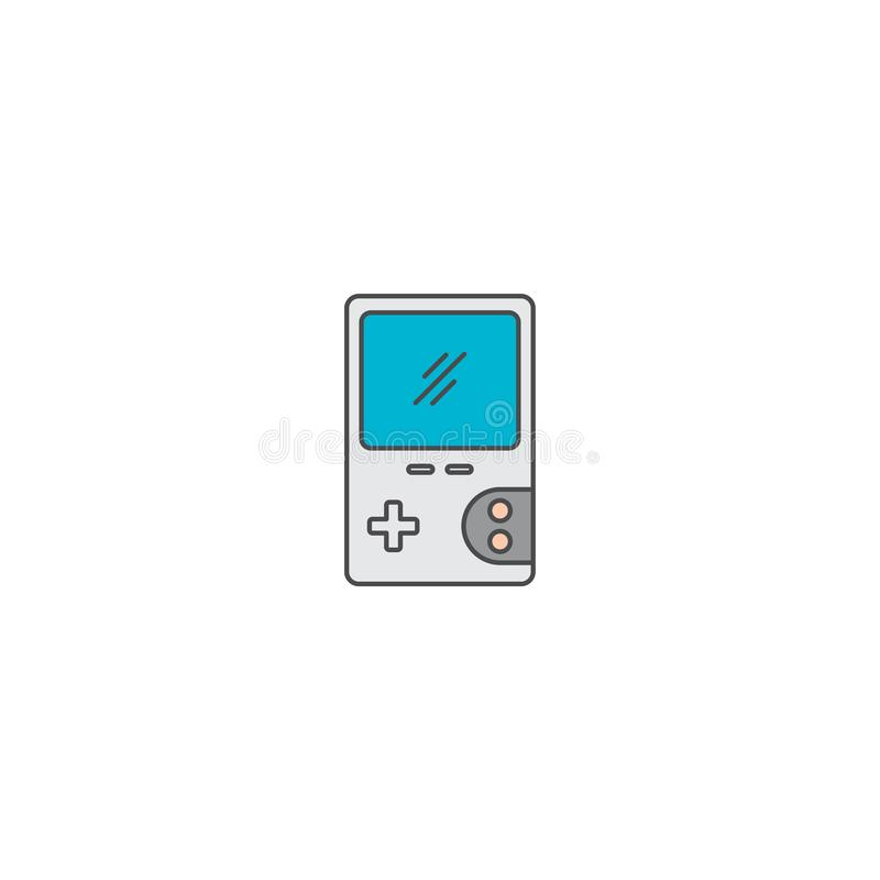 Gra wideo konsoli doodle kreskówki ikony przenośny mieszkanie ilustracji