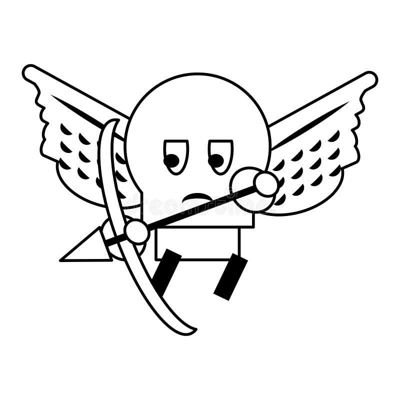 Gra wideo nieprzyjacielski charakter z skrzyd?ami i ??kowat? kresk?wk? w czarny i bia?y ilustracji