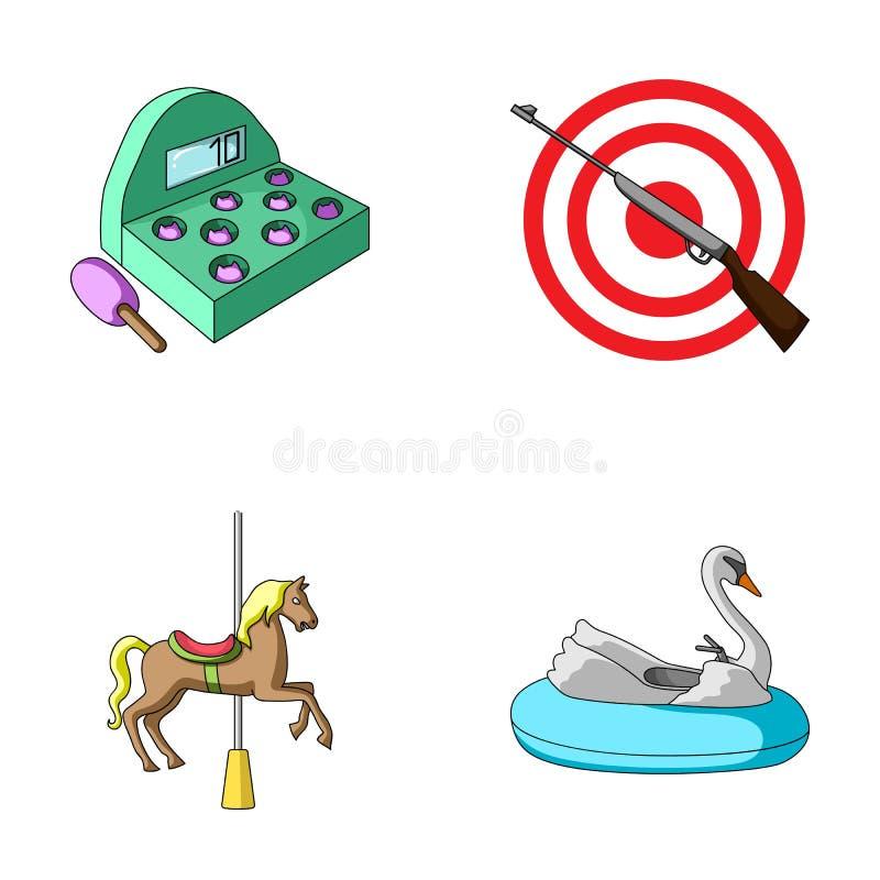 Gra z nietoperzem, cel z pistoletem, koń na carousel, łabędzi przyciąganie Park rozrywki ustalone inkasowe ikony wewnątrz ilustracja wektor