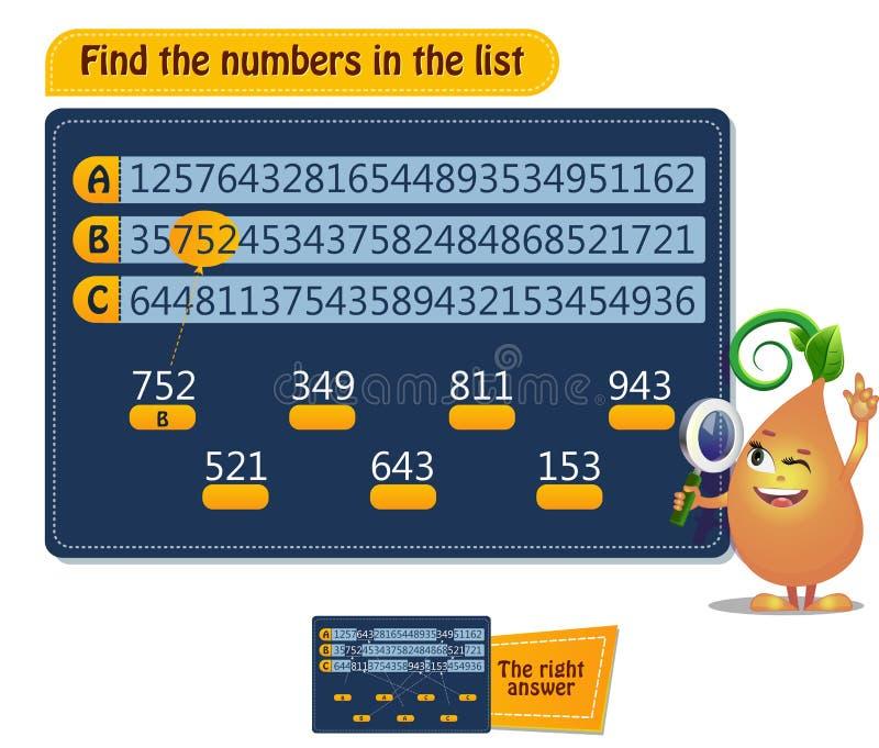 Gra znajduje numery na liście ilustracji