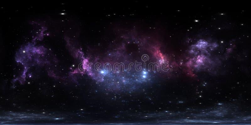 360 graad interstellaire wolk van stof en gas Ruimteachtergrond met nevel en sterren Gloeiende nevel, equirectangular projectie stock illustratie
