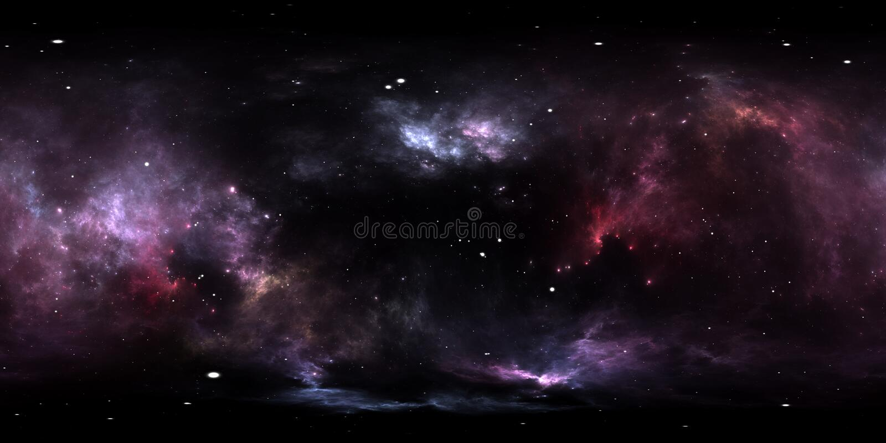 360 graad interstellaire wolk van stof en gas Ruimteachtergrond met nevel en sterren Gloeiende nevel, equirectangular projectie royalty-vrije illustratie