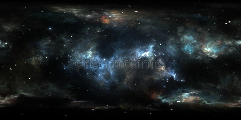 360 graad interstellaire wolk van stof en gas Ruimteachtergrond met nevel en sterren Gloeiende nevel, equirectangular projectie vector illustratie