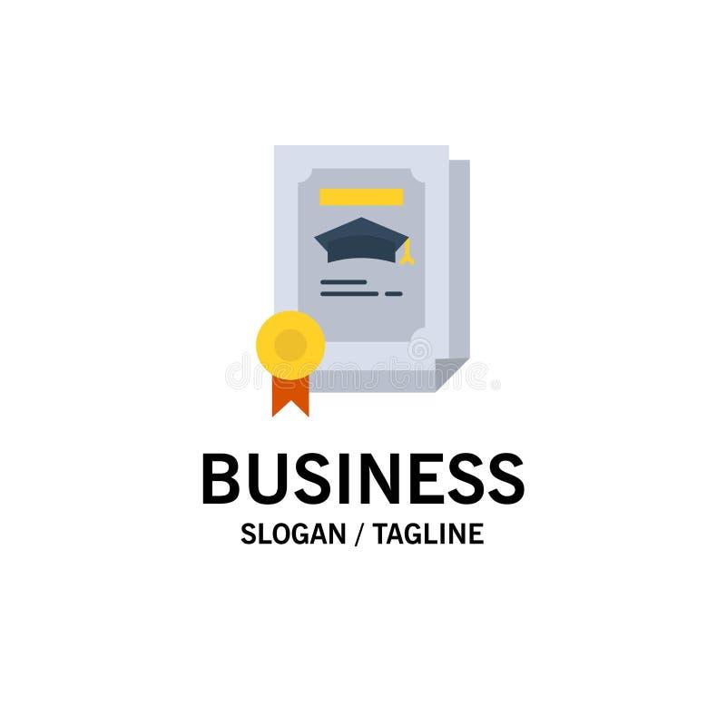 Graad, Voltooiing, Certificaat, Gediplomeerde Zaken Logo Template vlakke kleur stock illustratie