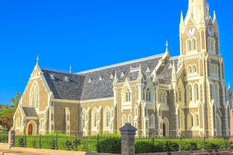 Graaff Reinet Church. Side view of Victorian Gothic Reformed Mother Church in Graaff-Reinet, Eastern Cape, Great Karoo, South Africa. Historical Dutch church stock photography