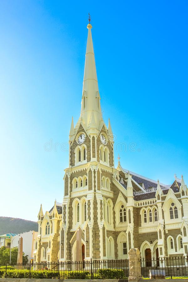 Graaff-Reinet Gothic Church. Victorian Gothic Reformed Mother Church in Graaff-Reinet, Eastern Cape, Great Karoo, South Africa. Clock tower and facade of royalty free stock images