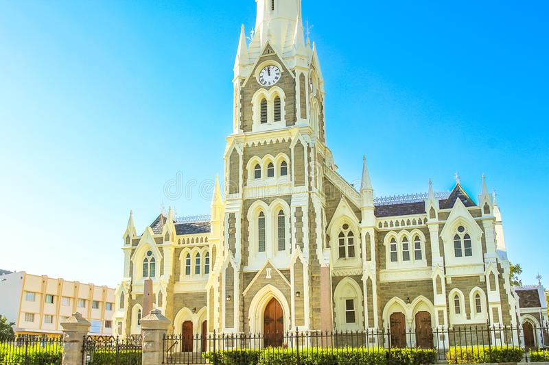 Graaff-Reinet Gothic Dutch Church. Majestic Victorian Gothic Reformed Mother Church in Graaff-Reinet, Eastern Cape, Great Karoo, South Africa. Facade of royalty free stock photo
