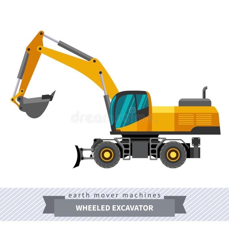Graafwerktuig op wielen voor grondwerkenverrichtingen royalty-vrije illustratie