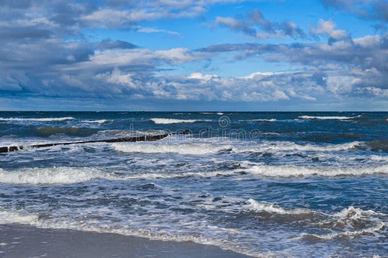 Graal-Muritz. Groynes in the surf on the German Baltic coast royalty free stock image
