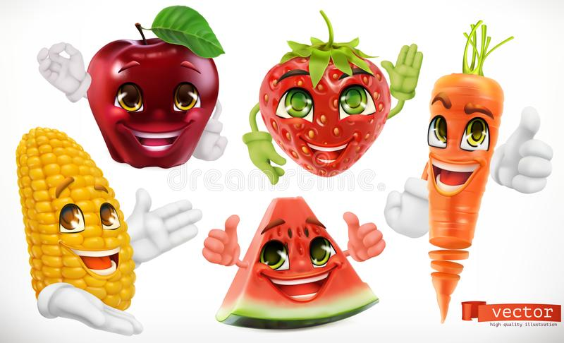 Graan, appel, aardbei, watermeloen, wortel 3d vector vastgesteld pictogram vector illustratie