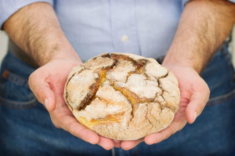 Graanbrood in handen stock foto's