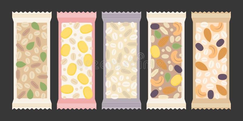Graangewas en granolabar vector illustratie