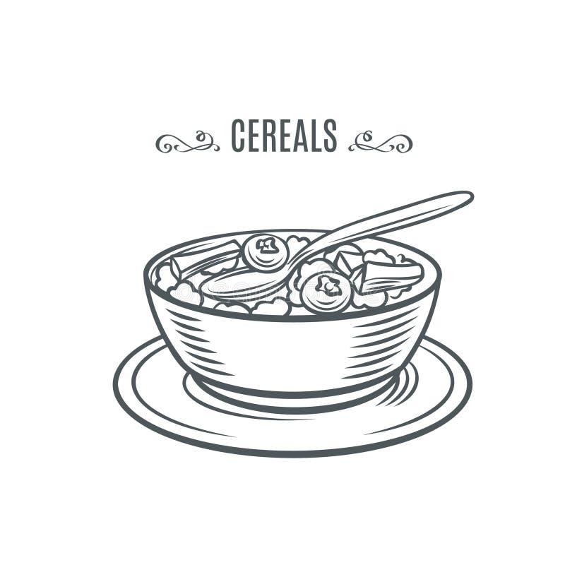 Graangewas met melk en bessen stock illustratie