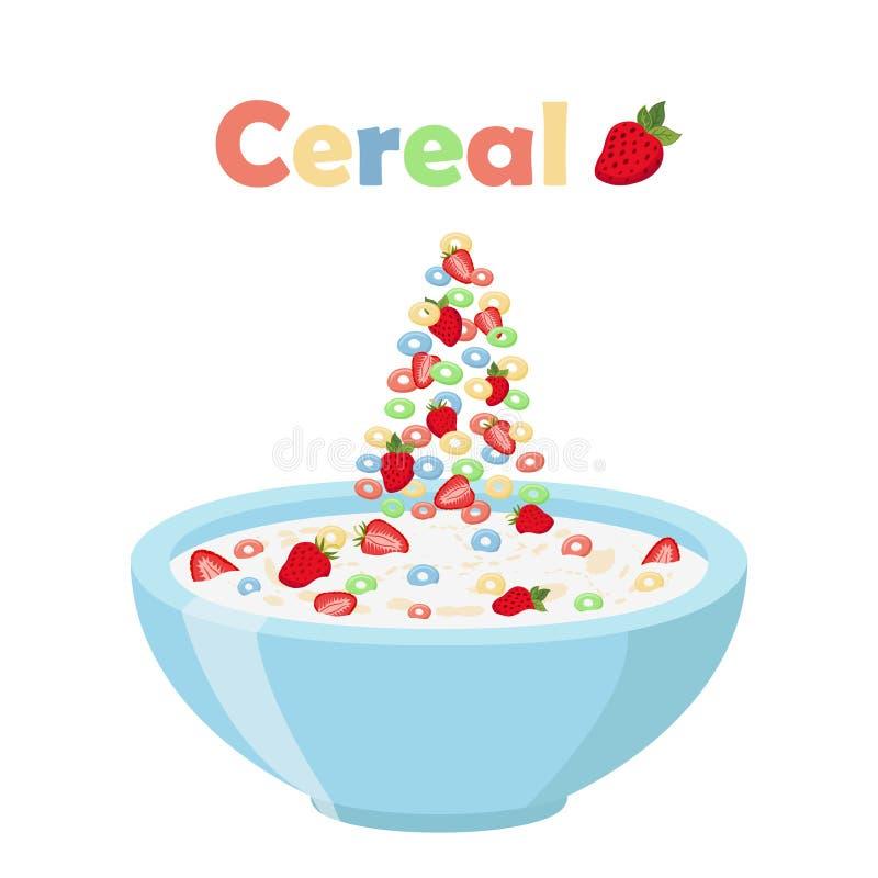 Graangewassenringen, aardbei met kom Organisch havermeelontbijt met melk stock illustratie