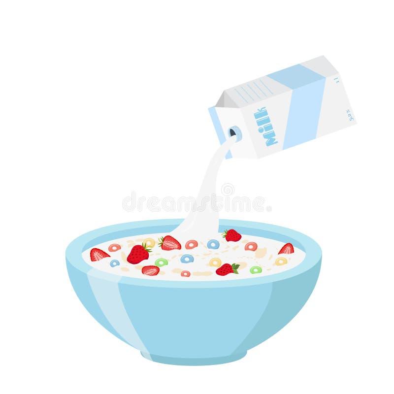 Graangewassenringen met aardbei, melk in Organische muesli van het havermeelontbijt stock illustratie
