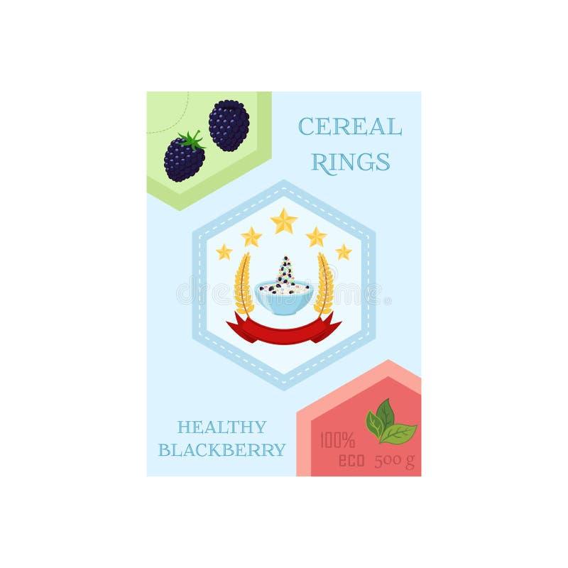 Graangewassenringen met braambes in doos Havermeelontbijt met melk royalty-vrije illustratie
