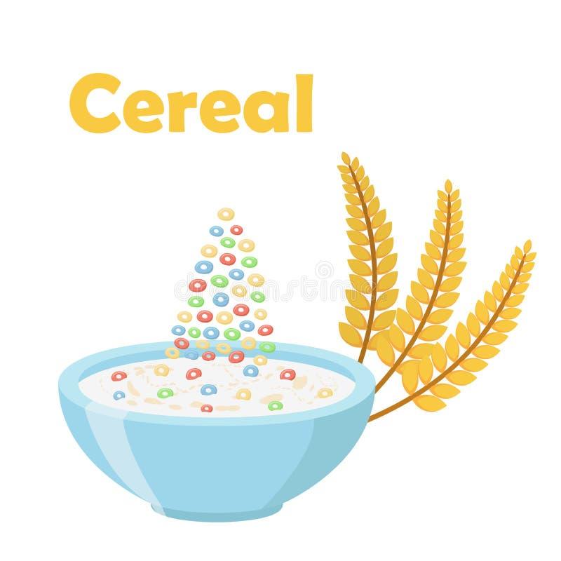 Graangewassenringen, met oren van tarwe Melk in Organische muesli van het havermeelontbijt stock illustratie
