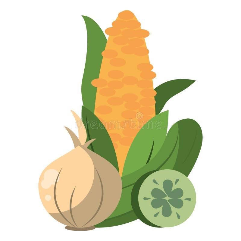 Graanknoflook en komkommer verse groenten stock illustratie
