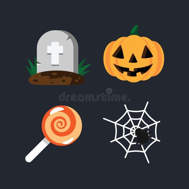 Grab im Kirchhof, in orange Halloween-Kürbis, in der Spinne und im Spinnennetz, süße Süßigkeitslutscher-Feiertagsillustration glü vektor abbildung