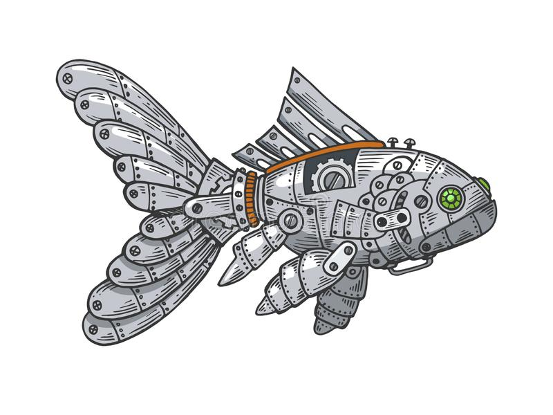 Grabado animal del bosquejo del color de los pescados mecánicos ilustración del vector