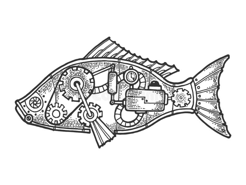 Grabado animal del bosquejo de los pescados mecánicos libre illustration