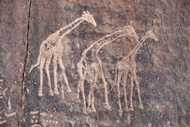 Grabado antiguo de la roca en el desierto de Sáhara fotografía de archivo libre de regalías