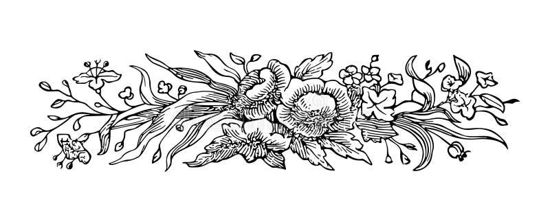 Grabado de la flor stock de ilustración