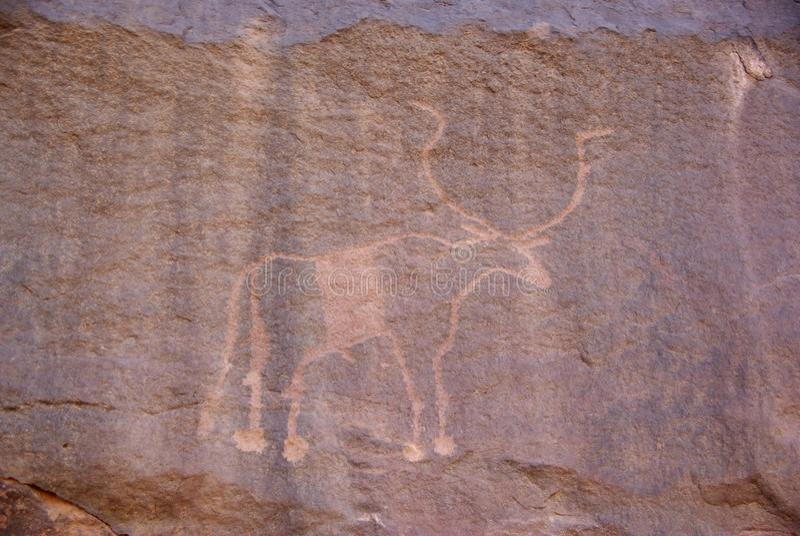 Grabado de la roca, Libia foto de archivo libre de regalías