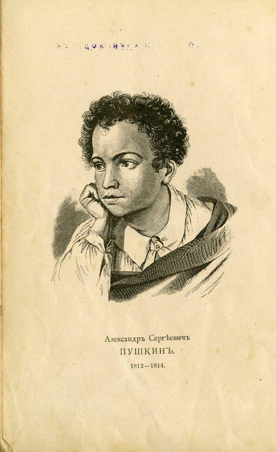 Grabado de un libro viejo retrato del gran poeta ruso Alexander Pushkin en su juventud stock de ilustración