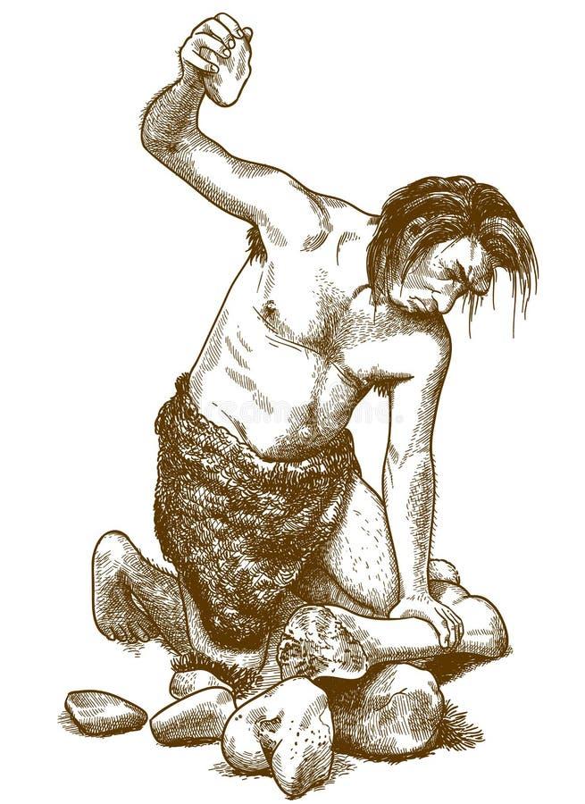 Grabado del ejemplo del hombre de las cavernas ilustración del vector