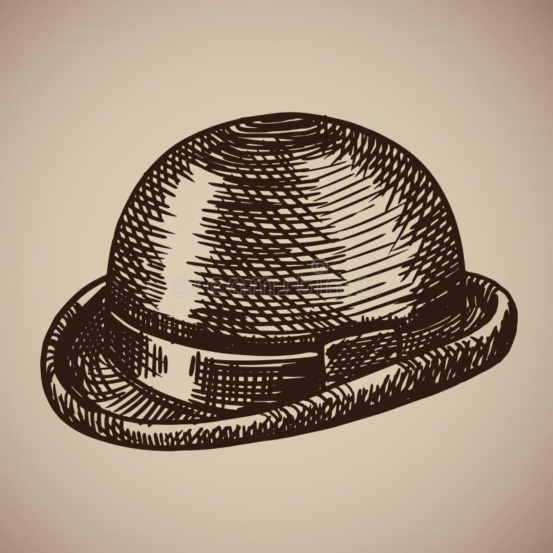 Grabado del jugador de bolos La ropa retra comenzó el siglo XX stock de ilustración